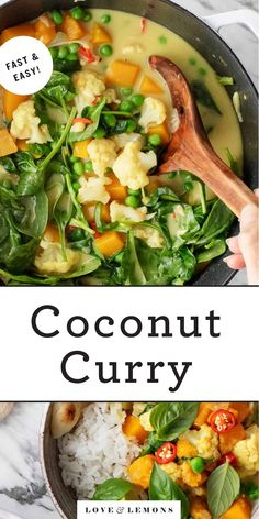 The best coconut curry recipe! It's easy to make and packs a punch of flavor from turmeric, ginger & curry spices. A great weeknight vegetable curry recipe. Curried Cauliflower Soup, Curried Lentil Soup, Cauliflower Recipes, Vegetable Curry, Vegetable Dishes, Vegetarian Recipes Dinner, Easy Dinner Recipes, Vegan Dinners, Whole Food Recipes