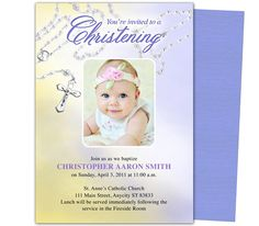 Baby Baptism/Christening Templates: Beads Baby Baptism Invitation Template