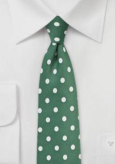 Rich Green Necktie with Soft White Polka Dots