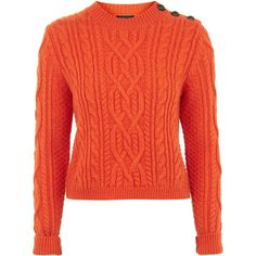 TOPSHOP PETITE Cropped Cable Knit Jumper ($60) ❤ liked on Polyvore featuring tops, sweaters, petite, red, chunky cable knit sweater, button sweater, cable sweater, petite tops and red sweater