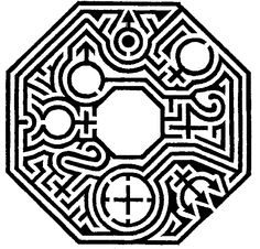 Maze of the planets by Adrian Fisher - copyright maze design. Entrance is bottom right.
