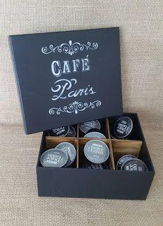 Arte lá em casa: Caixa para Capsula de Café - Café Paris
