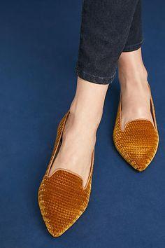 Bisue Ballerinas Velvet Embossed Loafers (ad) #AnthroFave