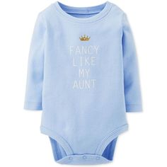 Carter's Baby Girls' Fancy Like My Aunt Bodysuit ($4.20) ❤ liked on Polyvore featuring kids, baby and onesies
