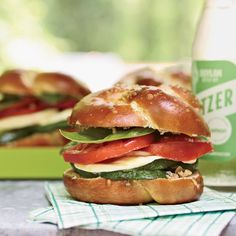 Grilled-Zucchini Subs with Fresh Mozzarella and Olivada | This summery sandwich is topped with olivada, made with tangy green olives, lemon and oil.