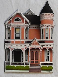 Victorian House - Wood - Hand Painted - Queen Anne Style. I would love to have a victorian home!
