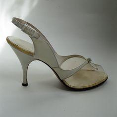Vintage 1950s White Wedding Shoes