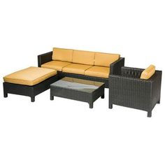 Creative Living Fiji 4 Piece Sofa Seating Group with Cushions