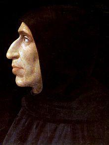 Jérôme Savonarole, en italien Girolamo Savonarola, né à Ferrare le 21 ou le 24 septembre 1452, mort pendu et brûlé à Florence le 23 mai 1498, fut un frère dominicain, prédicateur et réformateur italien, qui institua et dirigea la dictature théocratique de Florence de 1494 à 1498. Il est connu pour ses réformes religieuses, ses prêches anti-humanistes, son bûcher des vanités où disparurent de nombreux livres et de nombreuses œuvres d'art. Il prêcha de façon véhémente contre la corruption…