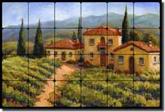 "Fine Art Tumbled Marble Tuscan Tile Mural and Backsplash - ""Chianti Village"" by Joanne Morris - Perfect for kitchens, backsplashes, showers and other interior spaces. Decorative Tile Backsplash, Backsplash Ideas, Tile Ideas, Kitchen Backsplash, Art Ideas, Tumbled Marble Tile, Spanish Tile, Tuscan House, Tile Murals"