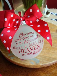 Because Someone We Love Is In Heaven Personalized Custom Christmas Ornament, Remember a Lost Loved One at Christmas