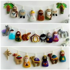 Make Your Own Felt Nativity Advent Garland kit, sewing kit to make a set of 24 festive felt decorations, Advent calendar, heirloom ornaments - Advent Felt Christmas Decorations, Felt Christmas Ornaments, Christmas Nativity, Christmas Countdown, Christmas Bells, Etsy Christmas, Christmas Child, Nativity Crafts, Holiday Crafts