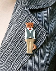 Unexpected little jewelry finds: Mr Fox brooch.  More treasures found here: https://www.etsy.com/shop/MaisonettedeMadness?ref=si_shop