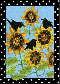Sunflower Garden ART Flag Banner Crow Black Birds Vine Leaves Outdoor Lawn  Yard | EBay