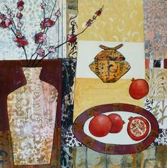 """Wonky Pots Pomegranats by Linda Bell, Acrylic Collage, 24"""" x 24"""" 