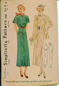 Vintage Sewing Pattern - 1930's Spectator Frock with Lovely Jacket - SIMPLICITY 1705. $38.00, via Etsy.