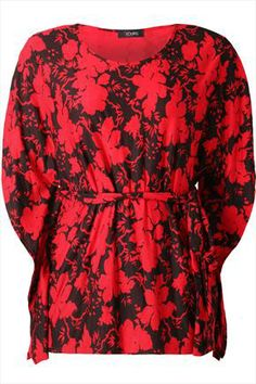 Red+And+Black+Oriental+Lace+Floral+Kimono+Top+With+Tie+Waist+46934
