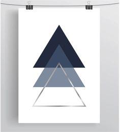 Navy Triangle Print Scandinavian Print Triangle Art by PrintAvenue