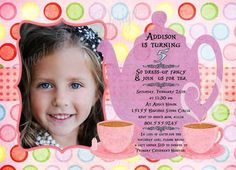 Custom Printable Tea Party Photo Birthday by SweetBeeDesignShoppe