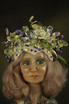 Springtime art doll with beaded headdress. Honeysuckledolls on Etsy.