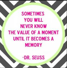 sometimes you will never know the value of a moment intul it becomes a memory-sometimes you do not know what is going to happen until you do it so just do it