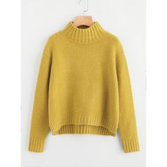 SheIn(sheinside) Drop Shoulder Stepped Hem Jumper ($31) ❤ liked on Polyvore featuring tops, sweaters, mustard, short-sleeve turtleneck sweaters, long sleeve turtleneck, mustard turtleneck, long sleeve pullover sweater and long sleeve pullover