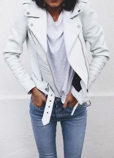 7b90fae8b Fresh take on the classic leather jacket | White Leather and Denim | Street  Style