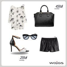 Czerń i biel - minimalistyczny duet! Biała oversizowa bluzka w kwiatowe printy, szorty z eko skóry i modne sandałki na obcasie marki Wojas (4792-71) tworzą kobiecą stylizację. Kompozycję doskonale uzupełniają czarna torebka Wojas (3918-51) oraz okulary przeciwsłoneczne.