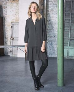 #MyWrapFavourites #WrapLondon Ania dress - Wrap London - In washed Tencel and linen with a lovely textured finish, this understated but very stylish shirt dress has a little revere collar, a concealed placket with mother-of-pearl buttons and three-quarter length sleeves. Semi-fitted with a deep, peplum style hem, designed to finish at the knee. 85% Tencel 15% Linen