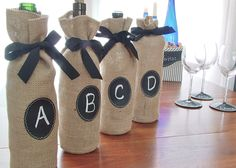 Set of 6 Jute Burlap Wine Bottle Bags to Custom Label over and over again - Set…