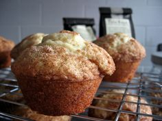 Snickerdoodle Muffins      2 sticks unsalted butter  1 cup sugar  2 tsp vanilla  2 eggs  3/4 tsp baking soda  3/4 tsp baking powder  3/4 tsp cream of tartar  3/4 tsp freshly grated nutmeg  1 1/4 cup sour cream  2 1/4 cups all purpose flour    1/2 cup sugar and 1 TBSP cinnamon mixed together for rolling*