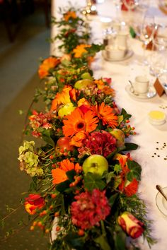 Autumnal top table arrangemnt Wedding Flowers, Wedding Day, Autumnal, Flower Arrangements, Table Decorations, Top, Home Decor, Pi Day Wedding, Floral Arrangements