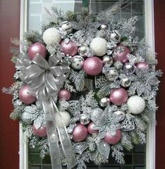 holiday wreaths Easily made. Spray wreath with silver metallic paint, sprinkle with silver glitter, use pink, white and silver balls - silver ribbon. Shabby Chic Christmas, Silver Christmas, Noel Christmas, Christmas Ornaments, Christmas Swags, Burlap Christmas, Ball Ornaments, White Christmas Wreaths, Door Bows Christmas