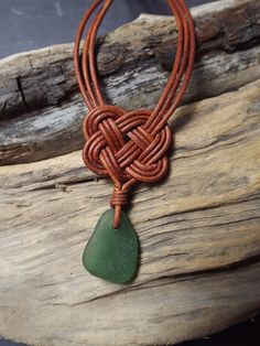 Green Scottish SeaGlass and  Leather Celtic by byNaturesDesign, $20.00