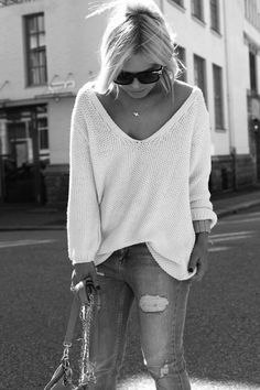 A white cotton sweater paired up with jeans is a fresh summer look in cooler days, or heading toward the night hours...