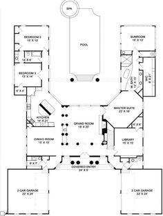 h-shaped house plans with pool in the middle pg3 | courtyard