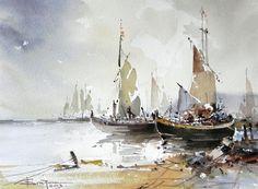 Corneliu Dragan Targoviste - Watercolour Acuarela peisaj marine 12 // evanescentescape.com