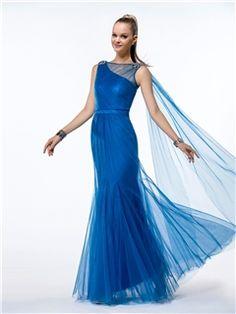 Wonderful Trumpet/Mermaid  Tulle Beading Bateau Neck Floor-Length Evening Dress