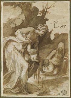 Inventaire du département des Arts graphiques - Thétis trempant Achille dans les eaux du Styx - DUBREUIL Toussaint