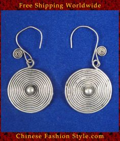 Tribal Silver Earrings Chinese Ethnic Hmong Miao Jewelry #309I Uniquely Handmad http://www.chinesefashionstyle.com/earrings/