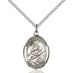 Custom Engraved Sterling Silver St Perpetua Pendant 34 x 12 inches with Sterling Silver Lite Curb Chain *** Continue to the product at the image link.Note:It is affiliate link to Amazon.