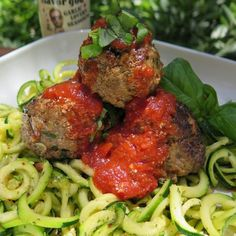 """""""@FlavorGod Meatballs & Garlic Zoodles ( zucchini noodles)  Directions for cooking 24 -1 inch @5280beef meatballs & zoodles. Grass fed and organic!…"""""""
