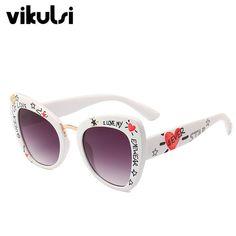 426ae984bd Moda Graffiti de ojo de gato gafas de sol de gafas de las mujeres de la