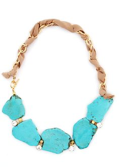turquoise and gold threaded necklace  Lauren Elan Collections — Olivia