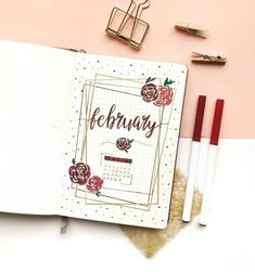 43 Bullet Journal Monthly Cover Page Ideas That'll Leave You Inspired - The Thrifty Kiwi New year, new covers. Get inspired with these 43 bullet journal monthly cover page ideas. Here's to a new year of bullet journaling! Bullet Journal Doodles, Bullet Journal Weekly Spread, Bullet Journal Ideas, February Bullet Journal, Bullet Journal Cover Page, Bullet Journal 2020, Bullet Journal Notebook, Bullet Journal Aesthetic, Bullet Journal Layout