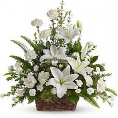 Order Peaceful White Lilies Basket flower arrangements from All Flowered Up Too, your local Lubbock, TX florist. Send Peaceful White Lilies Basket floral arrangement throughout Lubbock and surrounding areas. Basket Flower Arrangements, Funeral Floral Arrangements, Altar Flowers, Church Flowers, Beautiful Flower Arrangements, Beautiful Flowers, Flower Baskets, Artificial Flower Arrangements, Ikebana