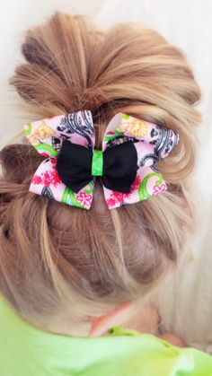 Pink Green and Black Paisley Pattern Hair Bow Clip by TeensyThings, $3.00