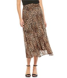 Reba Mesh Smocked Waist Stretch Leopard Print Pleated Midi Skirt - Animal Print XL From Reba, this skirt features:Printed mesh fabricationA-line silhouetteSmocked elastic waistbandMidi lengthPull-on constructionApprox. Animal Print Bedroom, Animal Print Decor, Animal Print Fashion, Leopard Print Outfits, Over 50 Womens Fashion, Pleated Midi Skirt, Printed Skirts, Smocking, Cute Outfits