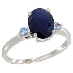 10K White Gold Natural Blue Sapphire Ring Oval 9x7 mm Light Blue Sapphire Accent, size 9, Women's