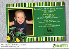 JOHN DEERE Birthday Invitation Option By ThePartySmarty On Etsy - John deere 2nd birthday party invitations